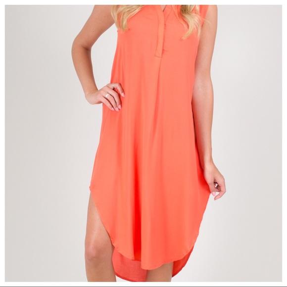 dfee2df3bd2 NWT Cupio Hi Lo Dress Tunic Small Orange summer